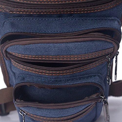 Style Aire Casual Multifunction Bolsos con Capa Bolso para Pierna Aire Libre el Estilo Azul Waistbag Bolsos Canvas Doble Libre Claro Retro al 8SfBqw8