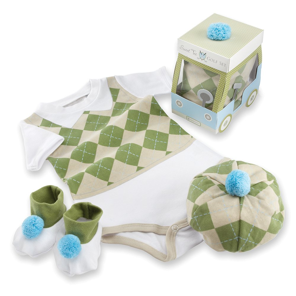 Baby Aspen Three Piece Layette Set in Golf Cart Package, Green/White, 0-6 Mos. by Baby Aspen