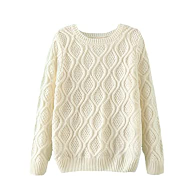 6cf8be1ae YOUJIA Womens Cable Knit Sweater Round Neck Long Sleeve Knitted ...