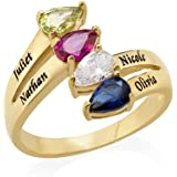 Gold Plated Mothers Ring with Four Birthstones - Personalized & Custom Made