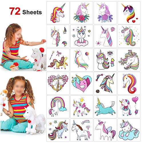 Unicorn Party Favors Temporary Tattoos Stickers(72Sheets),Konsait Funny Girls Boys Rainbow Unicorn Tattoos Great Kids Party Accessories Gifts for Unicorn Birthday Toddlers Baby Showers Supplies]()