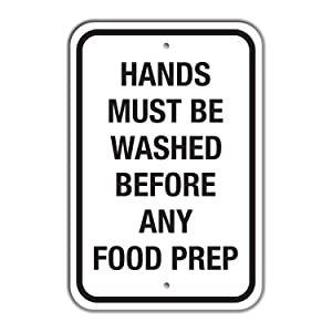 """SmartSign """"Hands Must Be Washed Before Any Food Prep"""" Sign   18"""