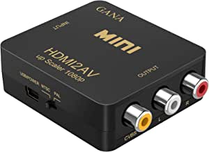 HDMI to RCA,HDMI to AV, GANA 1080P HDMI to 3RCA CVBS AV Composite Video Audio Converter Adapter Supports PAL/NTSC with USB Charge Cable for PC Laptop HDTV DVD-Black
