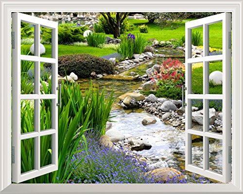 """Wall26 Removable Wall Sticker / Wall Mural - Clear Spring and Green Grass out of the Open Window Creative Wall Decor - 24""""x32"""""""
