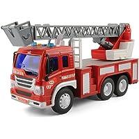 TOYABI Camión de Ingeniería Fricción con Luces & Sonidos Coche Juguete para Niños (Escalera Extendible)