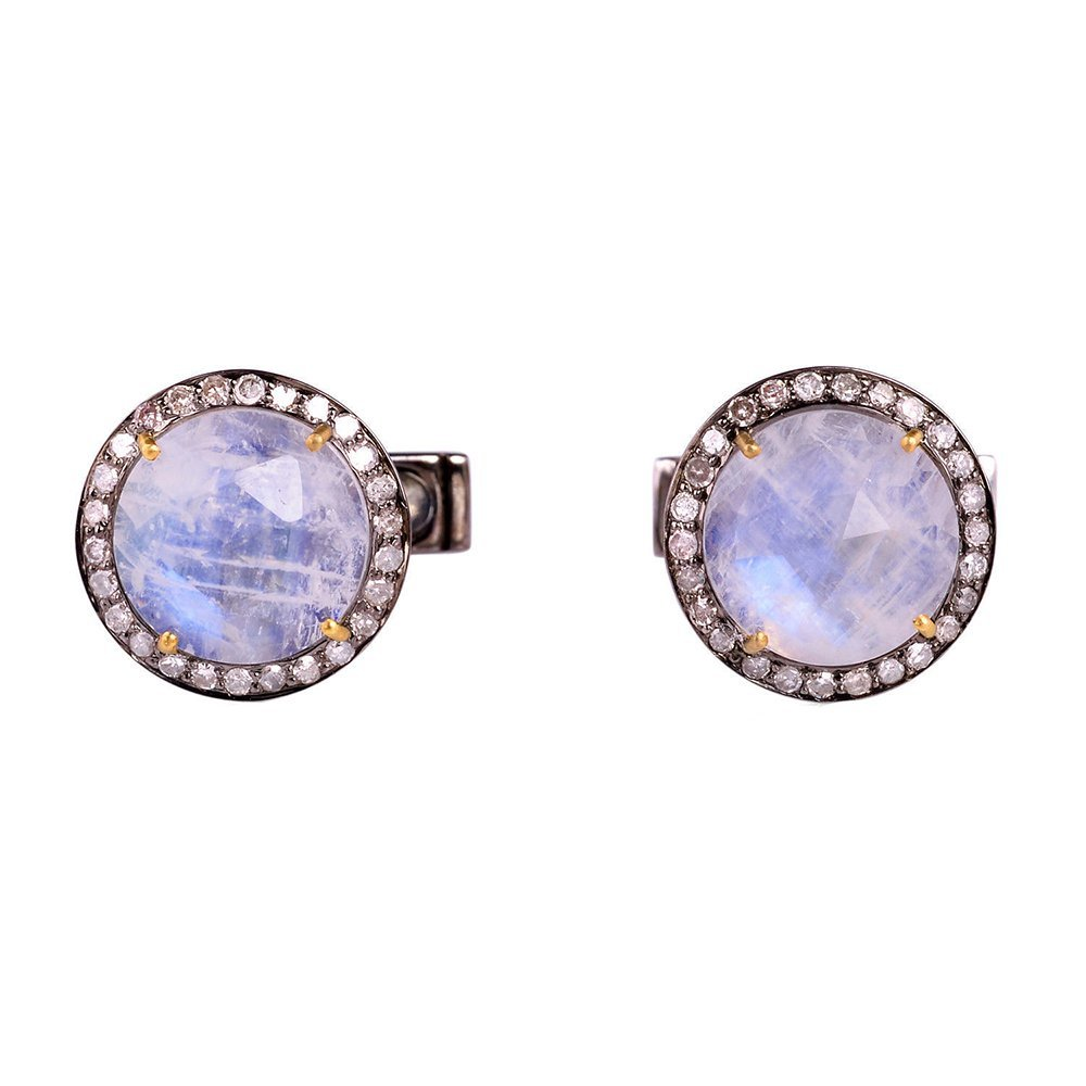 8.25ct Blue Moonstone Pave Diamond 14k Gold Cufflink 925 Sterling Silver Jewelry