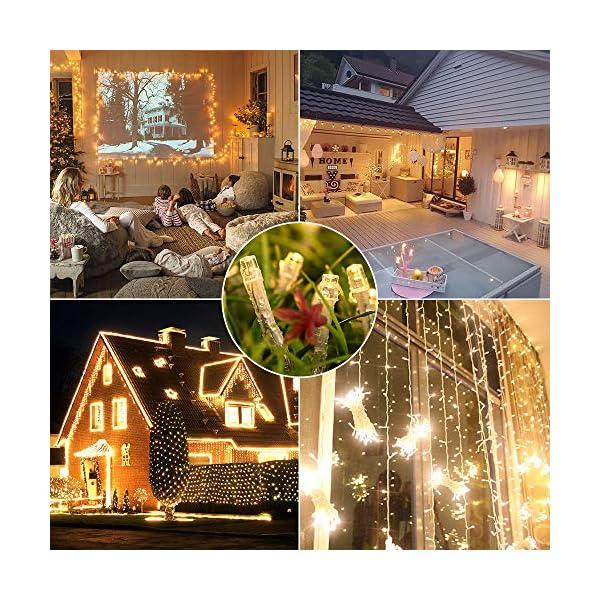 Qedertek Catena Luminosa, Cavo trasparente, Luci Stringa 23 Metri 200 LED, Addobbi Natalizi per Albero di Natale, Luce Natalizie per Decorazione Interno (Bianca Calda) 6 spesavip
