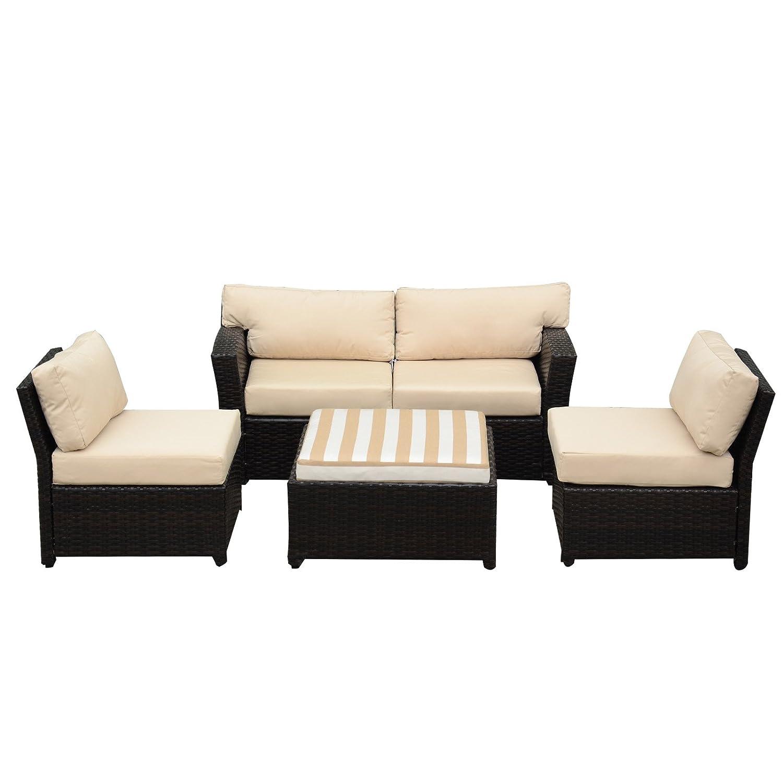 Amazon com orno ttobe 5 piece rattan wicker sectional sofa set with sunbrella cushion outdoor garden patio furniture set coffee beige garden outdoor