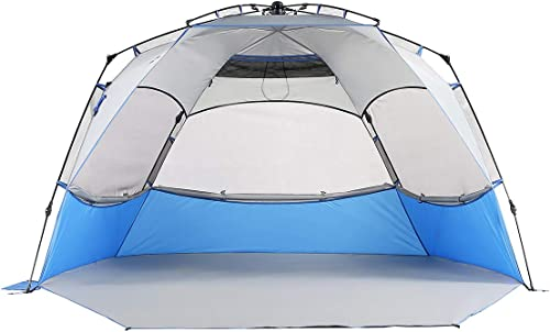 Mobihome Beach Tent Sun Shelter Pop Up, Large Portable Shade Tents with UPF 50 Protection, Easy Setup Beach Canopy Umbrellas Windproof for Sand, Surf, Camping, Outdoor – with Extended Porch