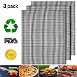 Nonstick Barbecue Grill Mesh Mat Set of 3, BBQ Grilling & Baking Sheet Liner, Reusable Grill Accessories for Grilled Vegetables/Fish/Fajitas/Shrimp, Use on Gas, Charcoal, Electric Barbecue - 17' x 13'