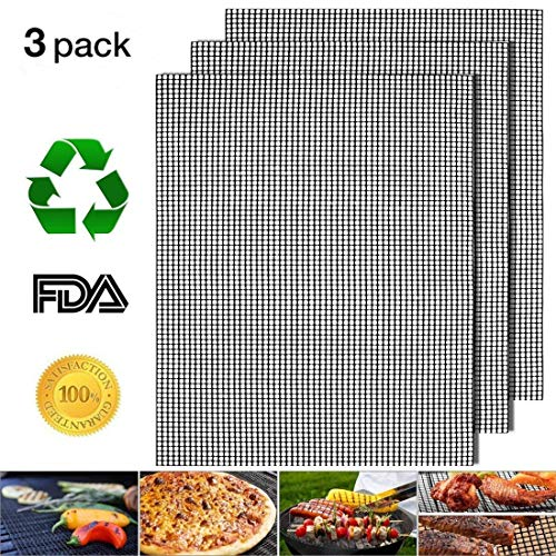 - Nonstick Barbecue Grill Mesh Mat Set of 3, BBQ Grilling & Baking Sheet Liner, Reusable Grill Accessories for Grilled Vegetables/Fish/Fajitas/Shrimp, Use on Gas, Charcoal, Electric Barbecue - 17