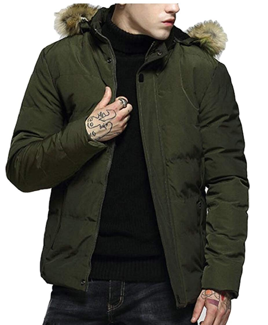 Gocgt Mens Winter Thicken Warm Solid Hooded Quilted Down Jacket Coat