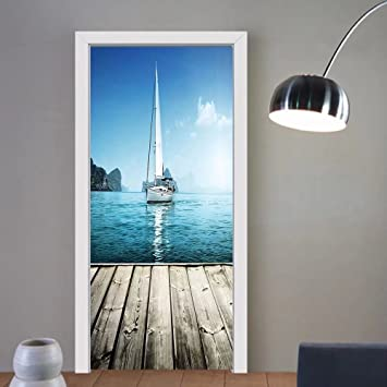 Gzhihine custom made 3d door stickers nautical yacht from wooden deck horizon serene seascape leisure aquatic