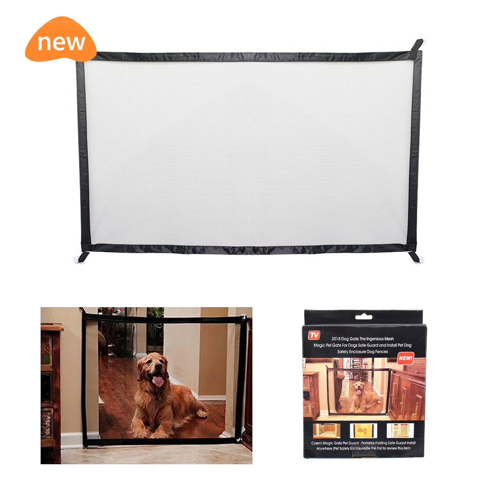 Fomei Pet and Child Safety Gate - Magic Gate Safety Enclosure Portable Folding Safe Guard, Pet Isolation Net, Retractable Mesh Gate for Pets Dog Cat Install Anywhere (L: 70.8 x W:28.3 inches)
