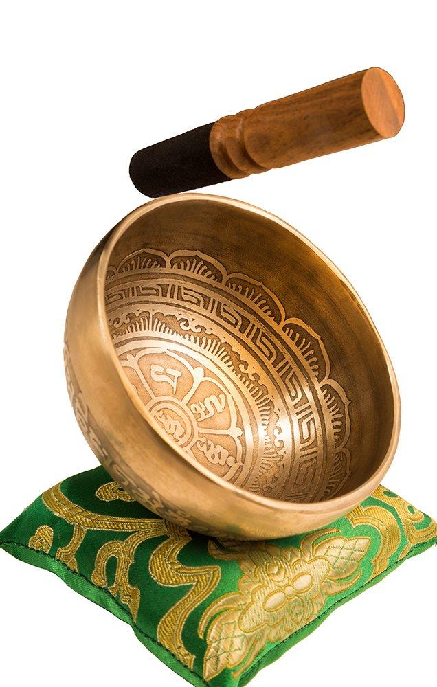 Tibetan Handmade Singing Bowl Set By YAK THERAPY - Om Mani Padme Hum - Excellent Resonance Healing & Meditation Yoga Bowl with Mallet, Silk Cushion & Silk Bag – Crown Chakra Balancing, Made in Nepal