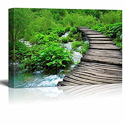Canvas Prints Wall Art - Wooden Path and Waterfall in Croatia| Modern Home Deoration/Wall Art Giclee Printing Wrapped Canvas Art Ready to Hang - 12