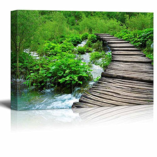 Wooden Path and Waterfall in Croatia Home Deoration Wall Decor ing