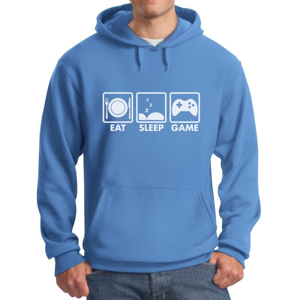 TeeStars Eat Sleep Game - Gift For Gamer Gaming Men's Hoodie Large California Blue