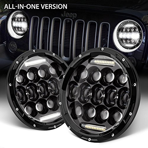 """GoodRun Jeep Wrangler Headlights 7"""" LED High/Low beam for 1997-2017 TJ JK & Unlimited White DRL Dot Approved Car Accessories (JW-HL05)"""