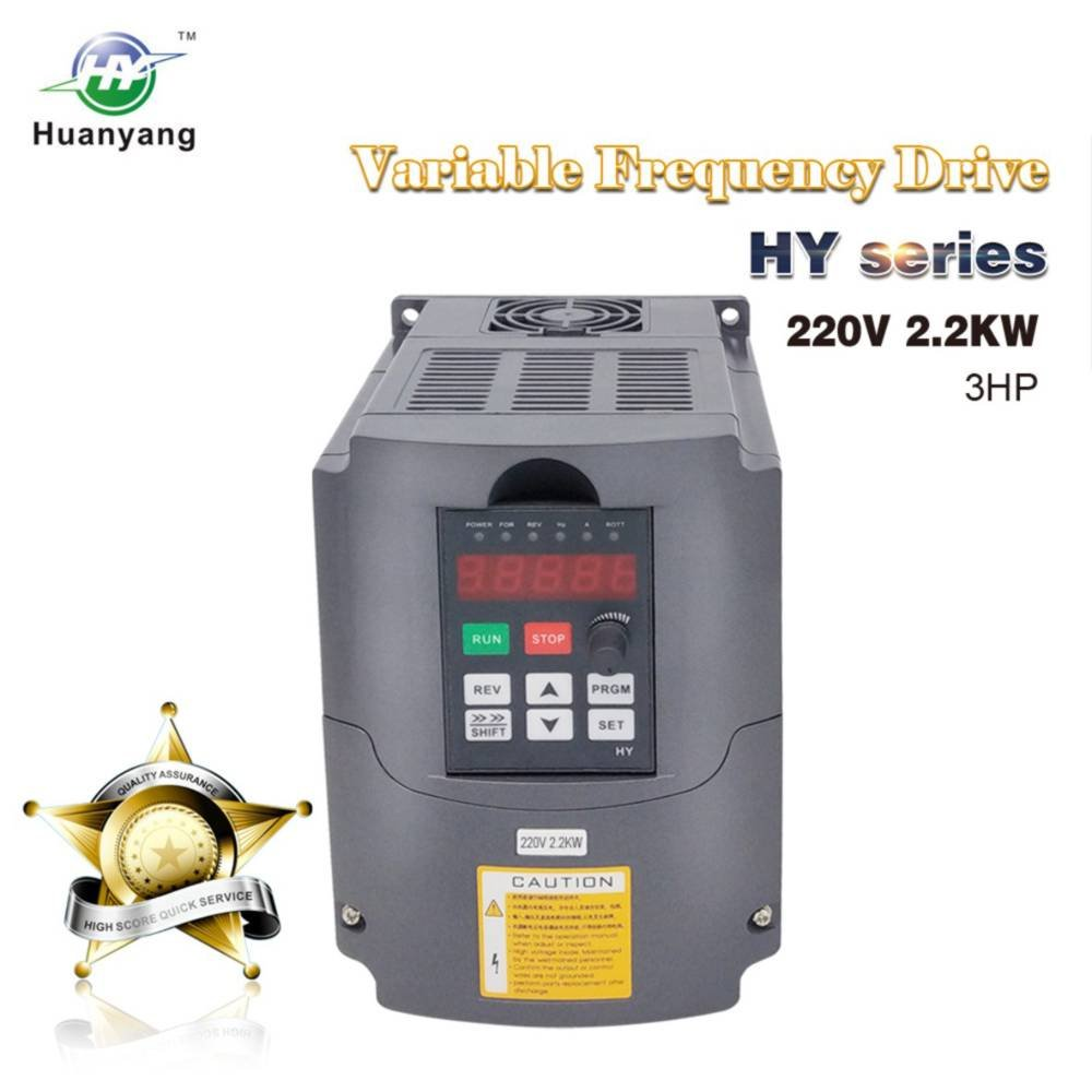 VFD 220V 2.2KW 3hp Variable Frequency Drive CNC VFD Motor Drive Inverter Converter for Spindle Motor Speed Control HUANYANG HY-Series(2.2KW, 220V)