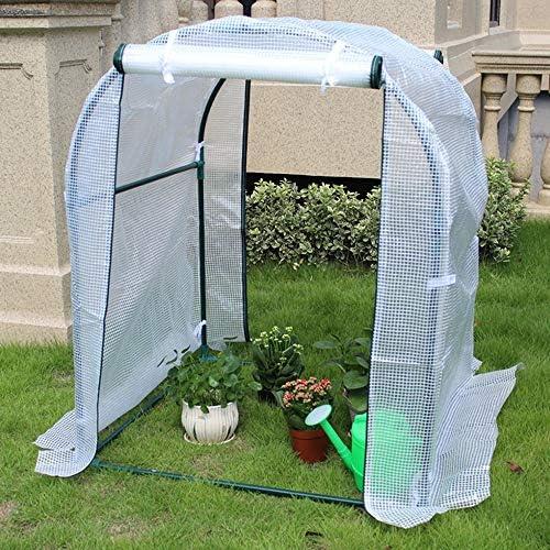ビニールハウス 庭ベランダ用H3.9x W3.3 X D3.3フィートの温室小屋、白PE防水温室カバー、家庭用植物成長部屋、