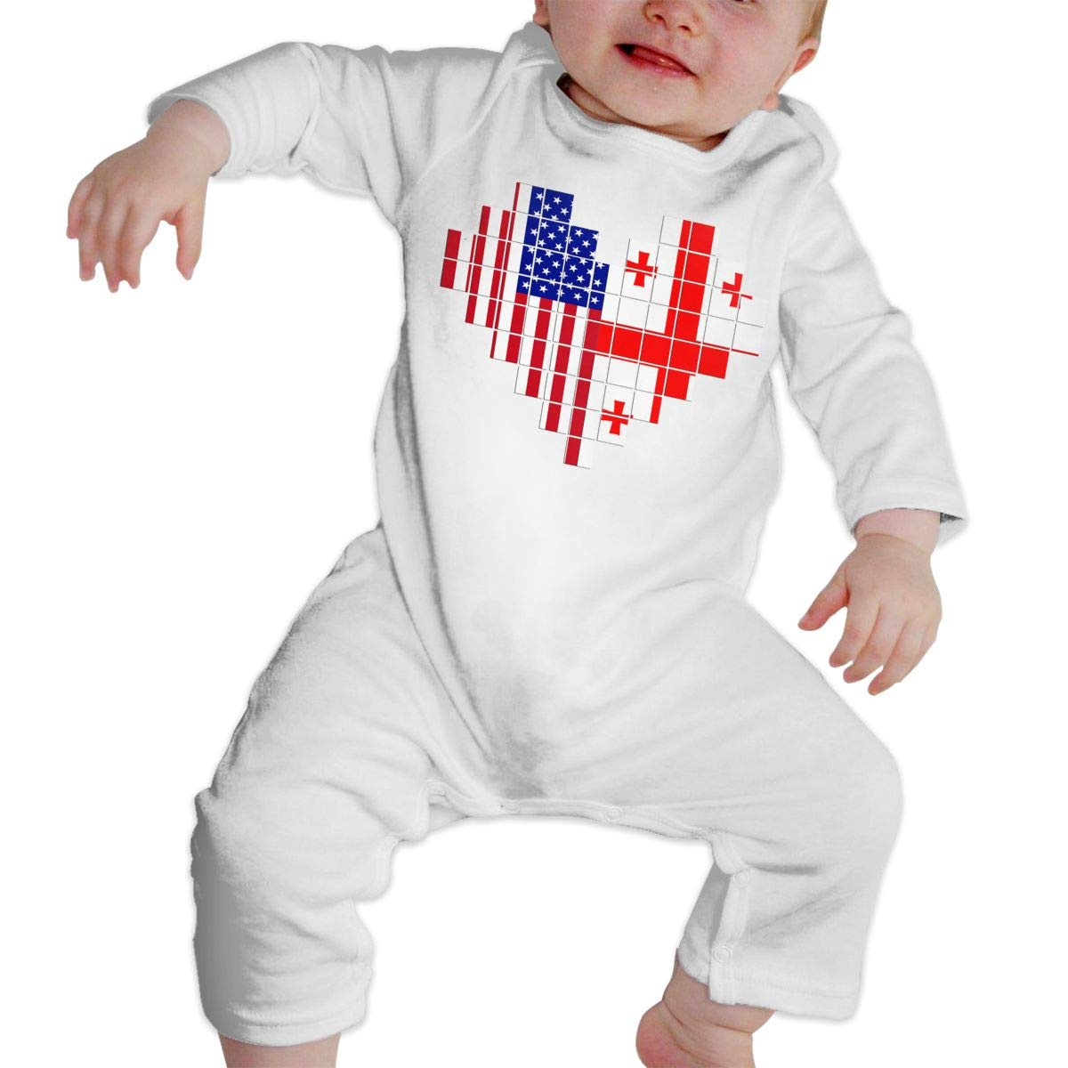 Cotton Long Sleeve Baby Clothes Newborn Infant Baby Girls Boys Bodysuits American Flag Georgia Flag Puzzle Heart 2