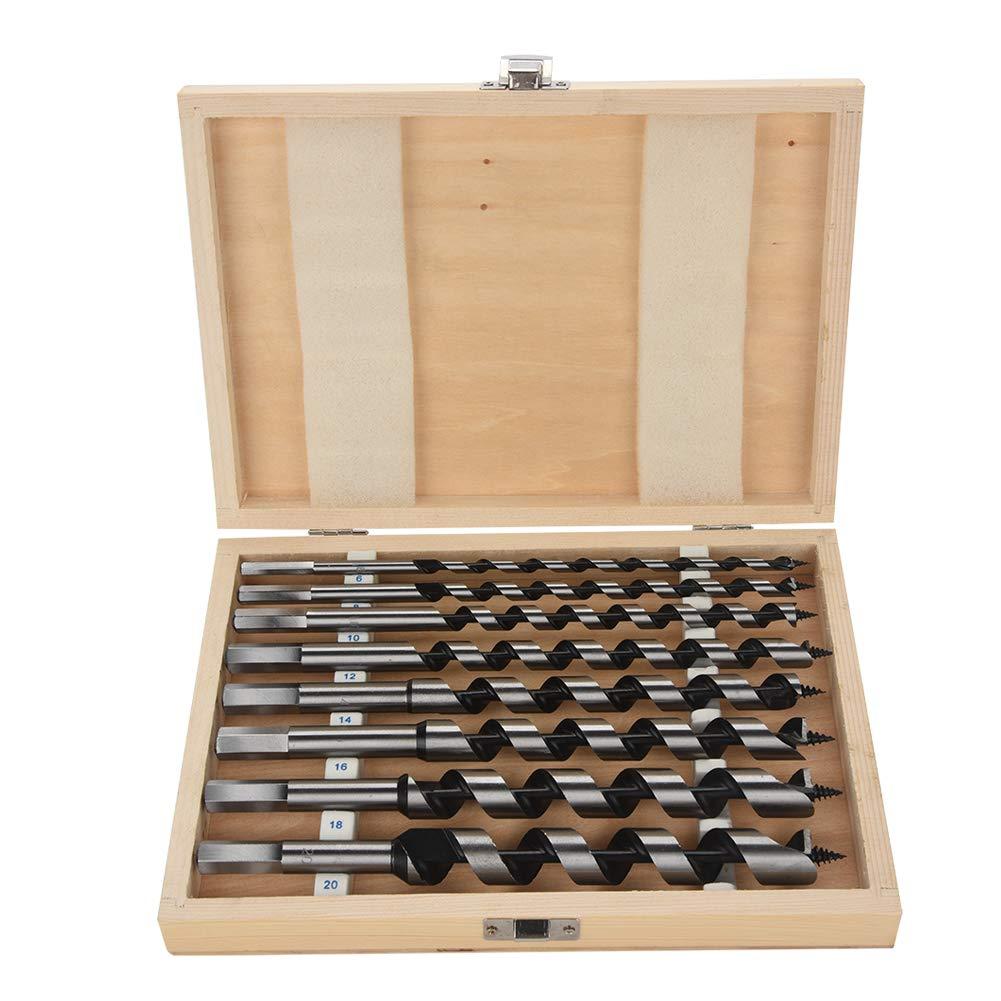 8pcs Carbon Steel Auger Bit Set Wooden Case Precision Machined Hex Shank Wood Drill Bit Set, 6, 8, 10, 12, 14, 16, 18, 20mm GOTOTOP