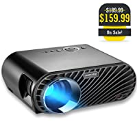 """GooDee Projector, Upgraded 3200 LM Luminous Flux LED Source Video Projector 180"""" HD LCD Movie Projector with 1280x800 Native Resolution Support 1080P Fire TV HDMI VGA USB"""