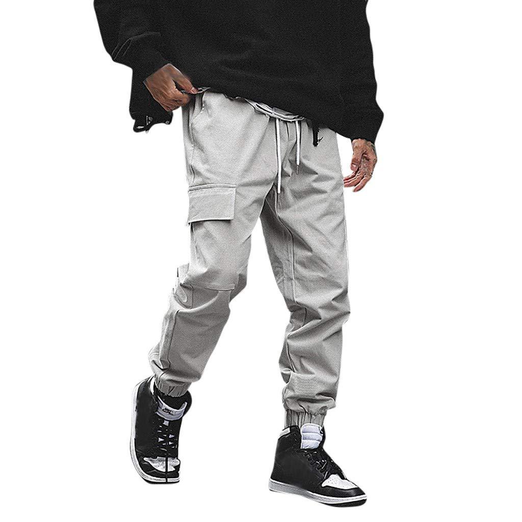 Informales a la Moda Estilo Cargo Clacce Pantalones de ch/ándal Pantalones de ch/ándal Pantalones de Trabajo para Hombre Pantalones de Ocio