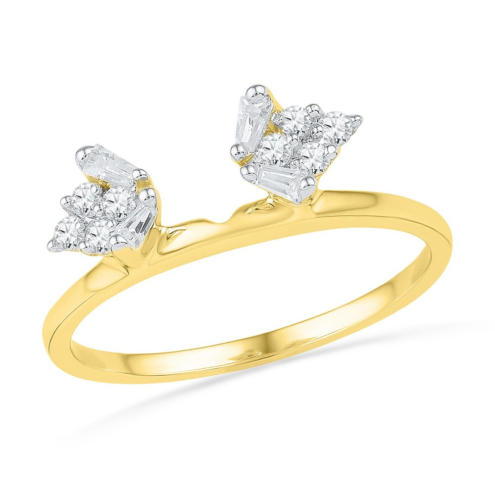 Size 8 - 14k Yellow Gold Baguette Diamond Ring Guard Wrap Solitaire Enhancer (1/4 Cttw) by Sonia Jewels (Image #1)