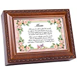 Cottage Garden Mom Woodgrain Music Box Plays Wind Beneath Wings
