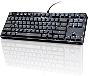 VELOCIFIRE TKL02 Mechanical Keyboard TKL 87 Key Tenkeyless Ergonomic with Brown Switches, and White LED Backlit for Copywriters, Typists and Programmers