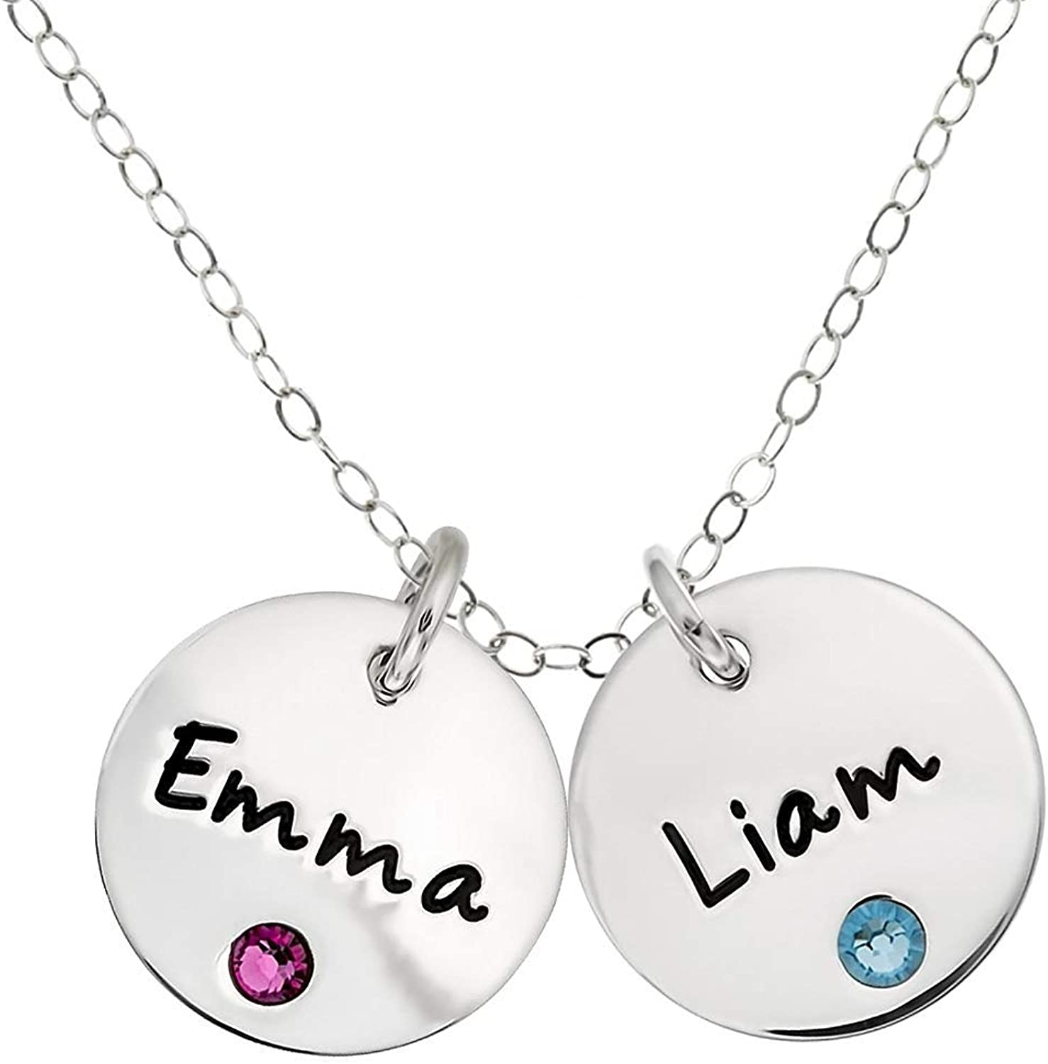 VERSUSWOLF Personalized 925 Sterling Silver Double Custom Name Necklace Pendant with Birthstone Settings