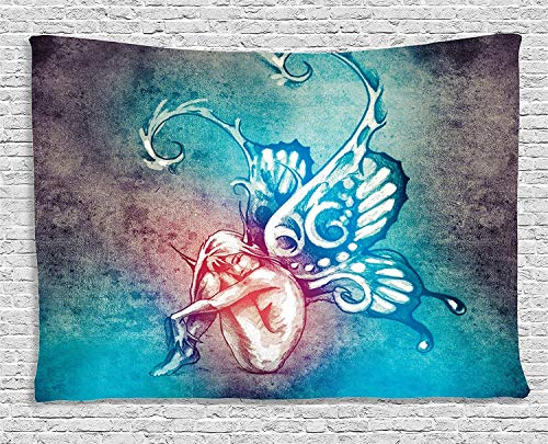 CosyBright Boho Blue Butterflies Decorations Tapestry, Fairy with Butterfly Wings Female Rebirth Psyche Lightness of Being Bedroom Living Room Dorm Accessories Wall Hanging Tapestry, 60x90 Inches