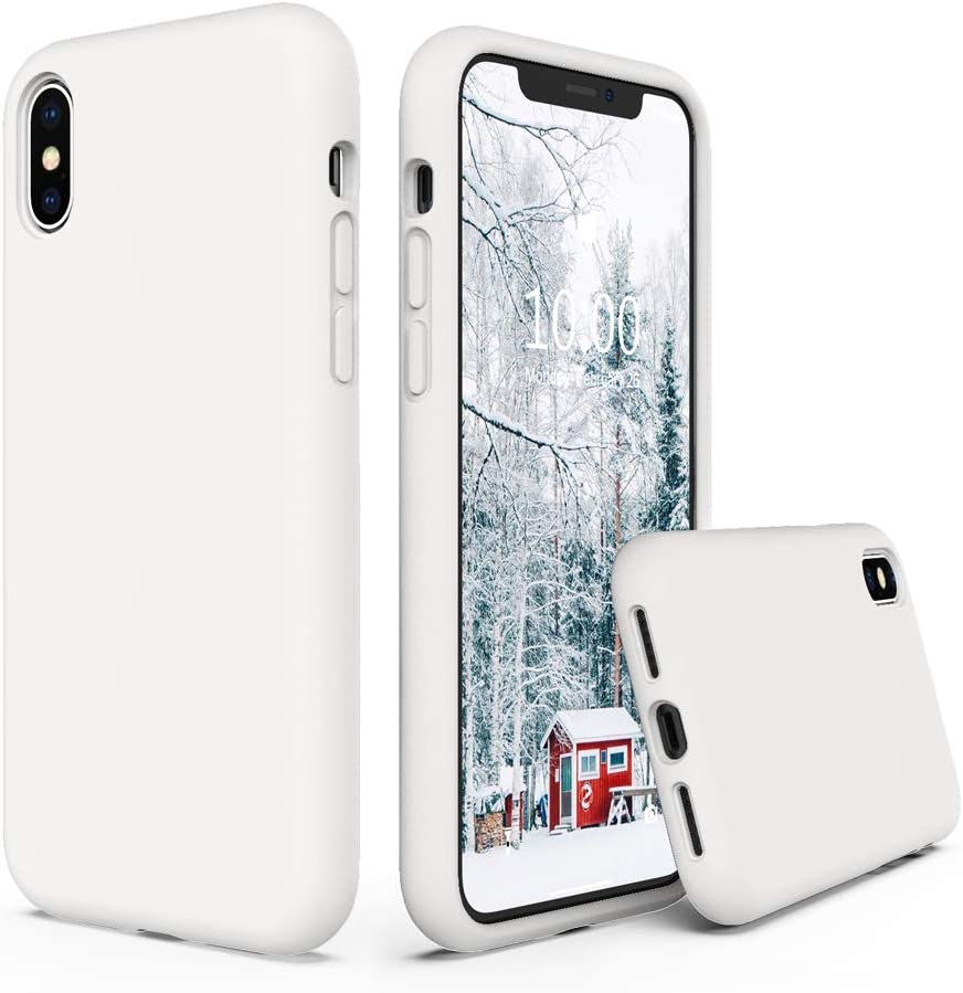 SURPHY Silicone Case Compatible with iPhone Xs Case iPhone X Case 5.8 inches, Liquid Silicone Phone Case (with Microfiber Lining) for iPhone Xs 2018 / iPhone X 2017 (White)