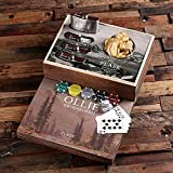 Flasks with Personalized Poker Chips, Cards, Dice Gambling Gift Sets _Hunter_Medium
