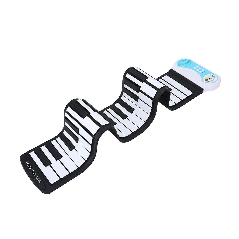 Roll-Up Piano, 49 Key Soft Electric Keyboard Piano Rechargeable Digital Piano Musical Instruments Toy for Kids Children Beginner