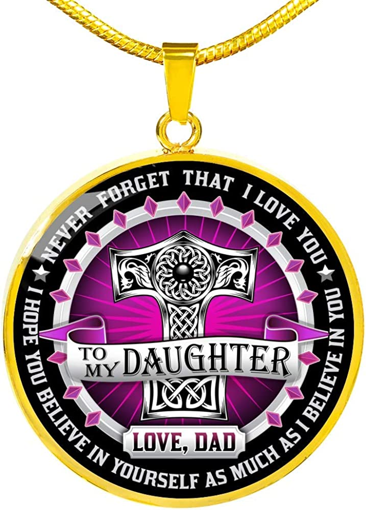 Gift for Daughter from Dad Viking Style Heart Necklace Daughter Necklace To my Daughter Viking Pendant Daughter Pendant