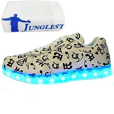 (Present:kleines Handtuch)Weiß EU 36, Leuchtend Winter Herren Leucht USB Damen schuhe LED und Freizeitschuhe Unisex bunt Erwachsene laufende JUNGLEST® Paare Auf