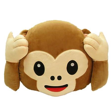 LIHI 40cm Monkey Emoji Smiley Emoticon Round Cushion Pillow Stuffed Best Monkey Covering Eyes Emoji Pillow