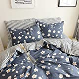 HighBuy Floral Print Kids Girls Bedding Duvet Cover Set Twin Cotton Reversible Stripe Pattern Navy Blue Teens Boys Bedding Sets Twin 3 PC Single Bed Comforter Covers with Zipper Closure
