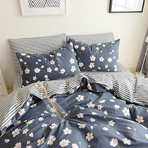 Vintage Flower Printed Bedding Duvet Cover Set Cotton Sateen Romantic Floral Duvet Cover and Pillow Shams Reversible Striped Bed Set Queen Size by HighBuy (Queen, Daisy) (Daisy Printed)