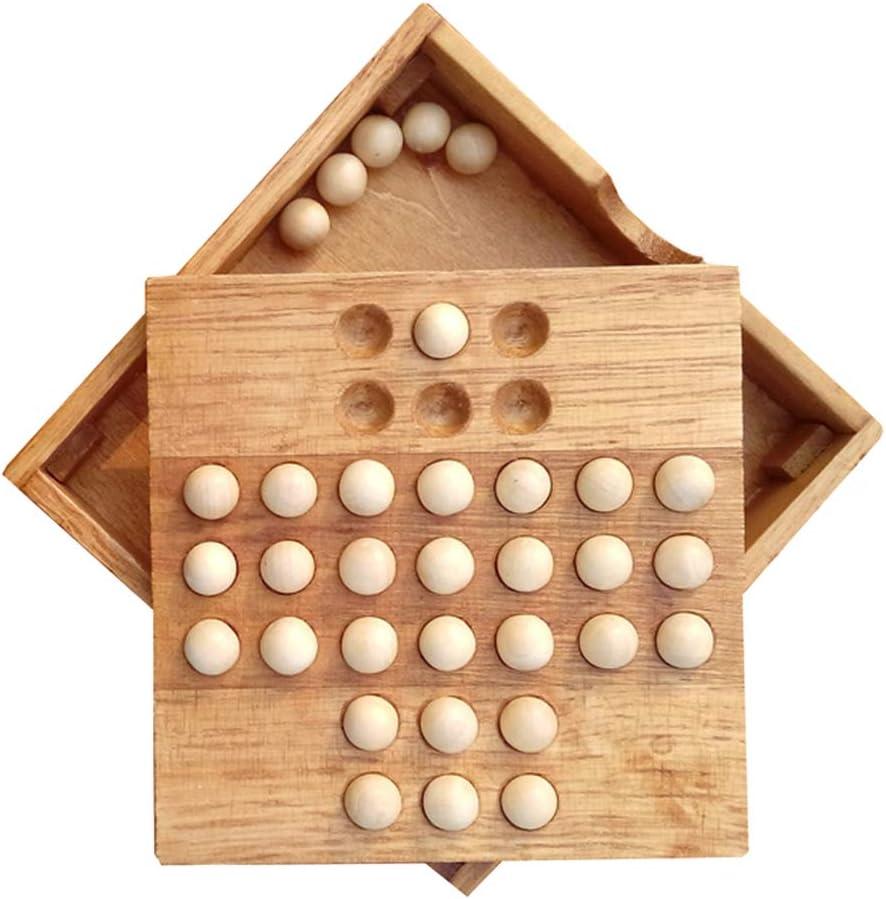 Toyvian Solitario de Madera, Juego de Mesa de ajedrez, ajedrez Individual, clásico, Inteligencia, Juguete