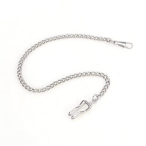 nicerio llavero de cadena con reloj de bolsillo chapado en plata clásico de metal, 35 cm (Longitud)