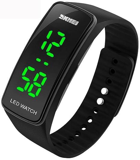 Hombres de las mujeres de Digital LED pulsera reloj de pulsera calendario al aire libre reloj deportivo sk1119 negro: Amazon.es: Relojes