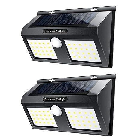 LTPAG 2pcs Luces Solares LED Exterior, 40 LED Foco LED Solar con Sensor de Movimiento, 3 Modos Lamparas Solares Jardin Exterior IP65 Impermeable ...