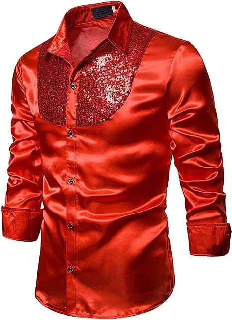 Aniyoge Camisa de Vestir de Manga Larga con Lentejuelas, Ajustada, para Hombre: Amazon.es: Juguetes y juegos