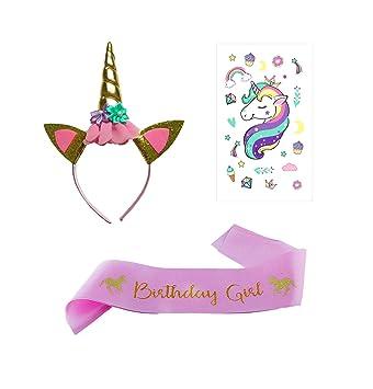EUGU Accesorio para El Cabello para Niña,Unicornio Diadema y Cumpleaños Banda de Raso,Etiqueta Engomada del Tatuaje, Artículos para la Fiesta del ...