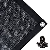 Agfabric 70% Sunblock Shade Cloth with Grommets for Garden Patio 10' X 20', Black