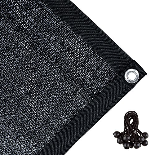 Agfabric 70% Sunblock Shade Cloth with Grommets for Garden Patio 6' X 12', Black